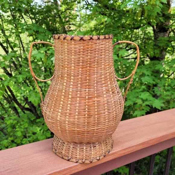 Vintage Boho Wicker Antique Woven Basket Vase